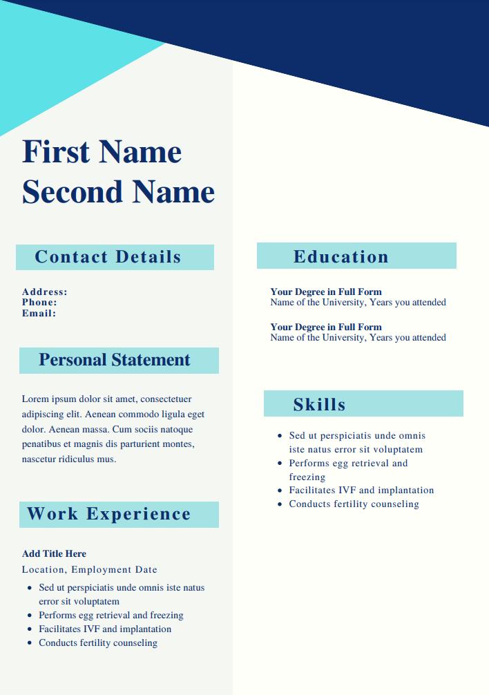 CV templates for fashion designers