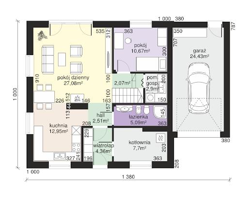 Dom przy Oliwkowej 2 - Rzut parteru