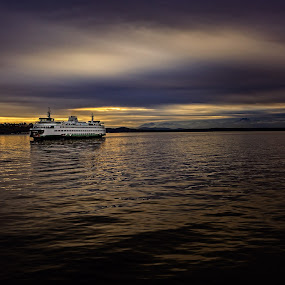 Arrival at Dusk by Steve Fisher - Transportation Boats ( seattle, 2016, wa state ferry, seattle waterfront, dusk )