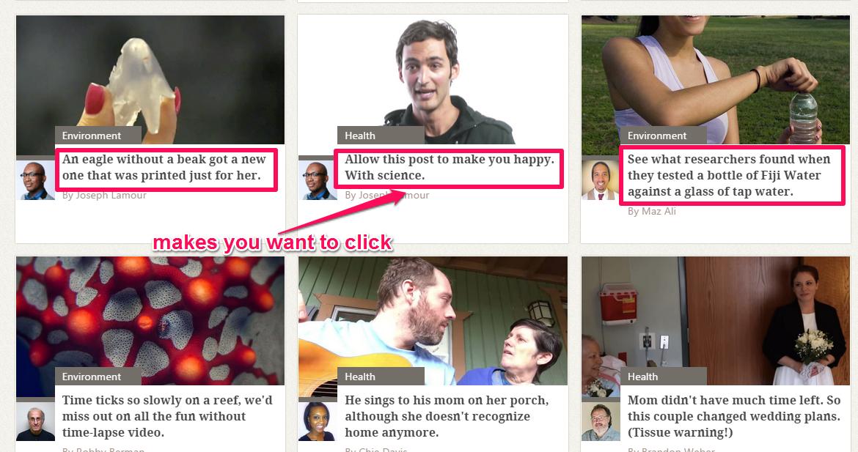 A screenshot of multiple headlines containing urgency describing adjectives.