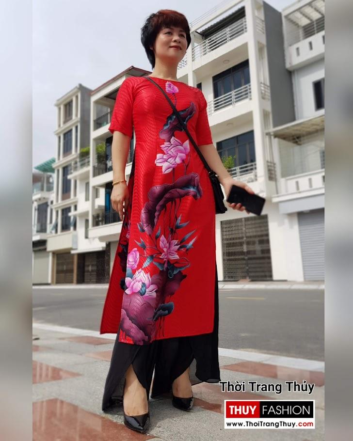 mẫu Áo dài Cách tân hoa sen mới nhất 2019 thời trang thuỷ hà nội
