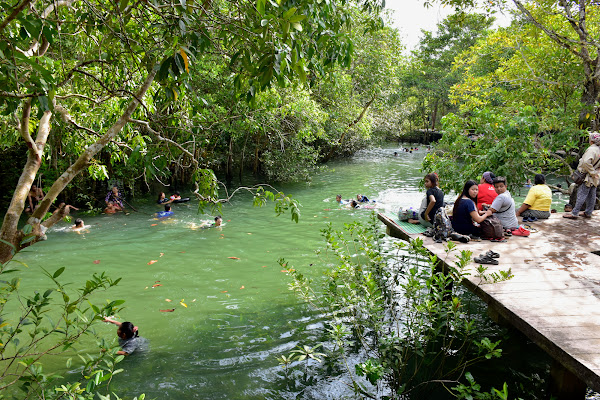 Swim in the natural forest stream of Sra Kaew