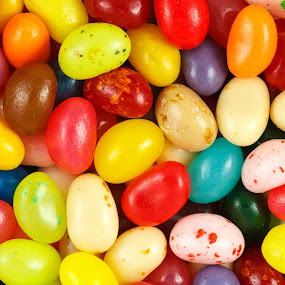 Close up of assorted multicolored jelly beans by Paul Krug - Food & Drink Candy & Dessert ( diet, yellow, tempting, fresh, candy, beans, mixed, pink, pile, various, jelly, black, gourmet, dessert, orange, building, sweets, purple, bean, colors, green, flavor, delicious, health, snack, variety, confectionery, nutrition, tasty, red, sweet, blue, food, background, small, sugar, treat )