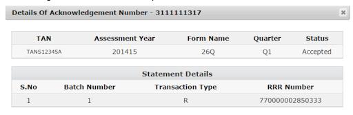 Details of acknowledgement number