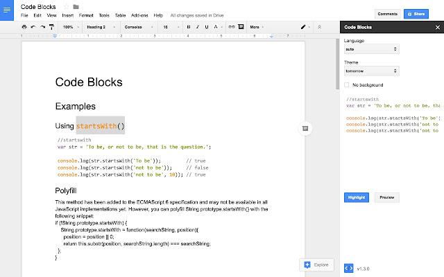 Code Blocks - Google Docs add-on