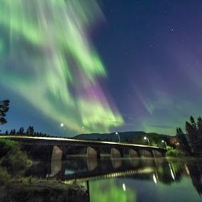 Beautiful night near Trondheim by Grete Øiamo - Landscapes Waterscapes ( waterscape, green, aurora, aurora borealis, river )