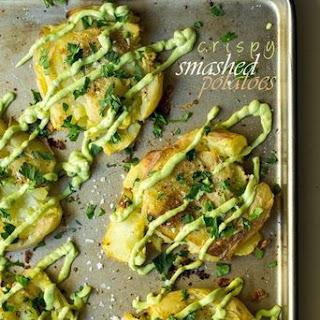 Crispy Smashed Potatoes with Avocado Garlic Aioli