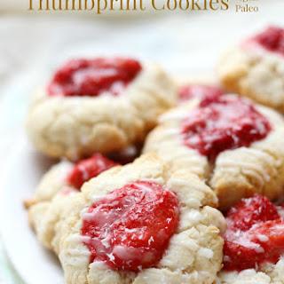 Paleo Strawberry Coconut Thumbprint Cookies (Gluten-Free, Vegan).