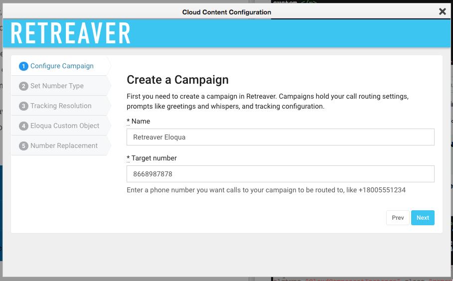 Retreaver Campaign Creation Screenshot - Call Intelligence Reviews