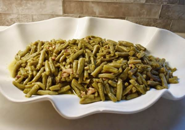 Mississippi Green Beans In A White Dish