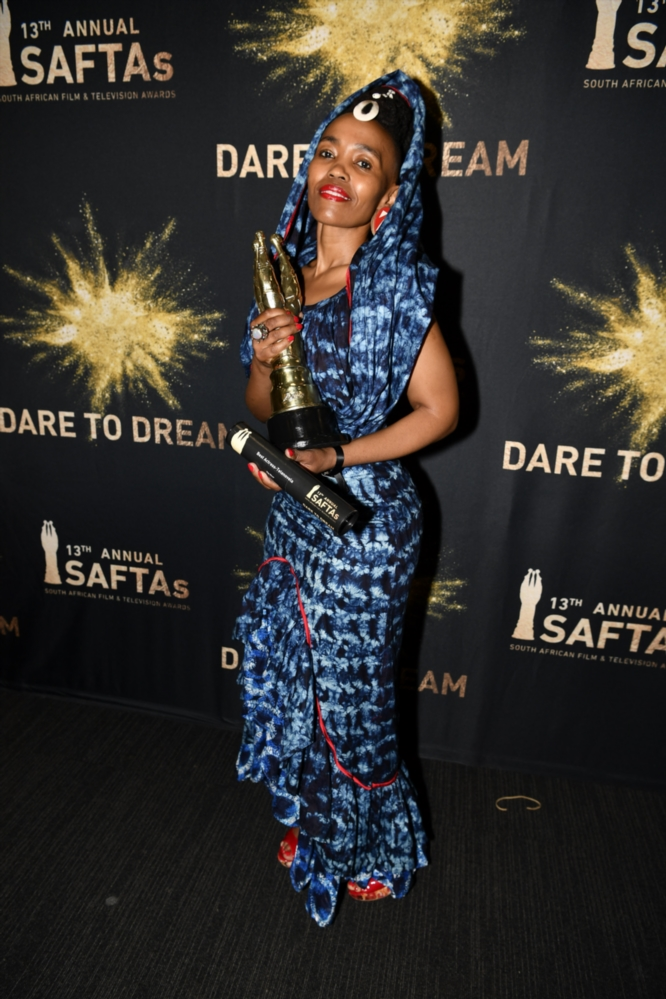 Moshidi Motshegwa wins best actress award for The River Telenovela during the 13th annual South African Film and Television Awards (SAFTAs) at the Sun City Superbowl on March 02, 2019 in Rustenburg, South Africa.