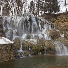 Waterfall na Lúčkach by Ferdinand Debnárik - Landscapes Waterscapes ( stream, reef, winter comfort, ice waterfall, coniferous trees.water )