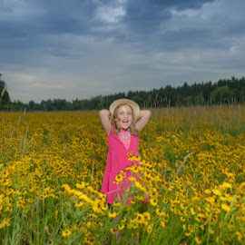 My Hat by Chris Cavallo - Babies & Children Children Candids ( sky, maine, pink, flowers, field, hat, clouds, girl, field flower )