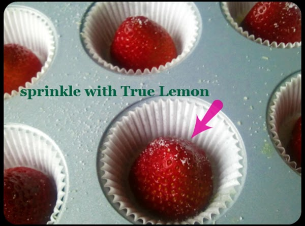 Rinse and pat dry 12 small to medium-sized strawberries.  Trim the tops off...