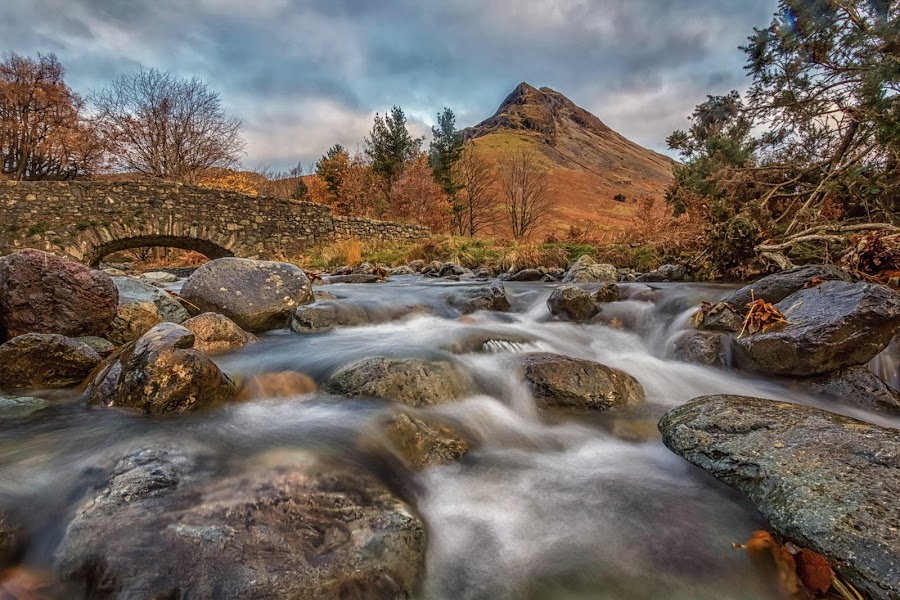overbeck and yewbarrow by Lester Woodward - Landscapes Mountains & Hills ( yewbarrow, wasdale, reflection, sunrise, overbeck bridge, wastwater, lake district,  )