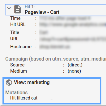 Tag Assistant Google Analytics report showing Hit 1 has been filtered from the view (mutations section)