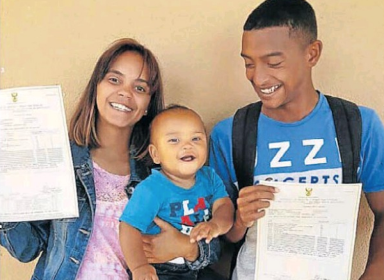 Waseema de Jager and Abid Taliep celebrate with their son after receiving their matric results