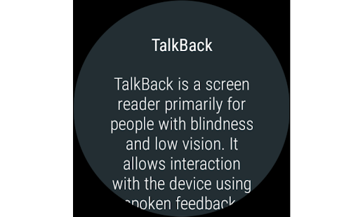 Screenshots of Google TalkBack for iPhone