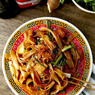 Tofu Chow Fun With Watercress.