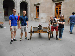 Photo: Eric Borio gave the group a tutorial on this Gatling gun.