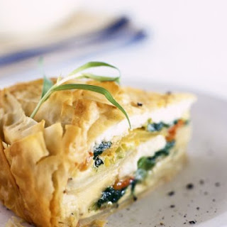 Spinach and Potato Filo Pastry Pie.