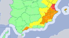 Mapa de avisos de Aemet con parte de la provincia en alerta naranja.