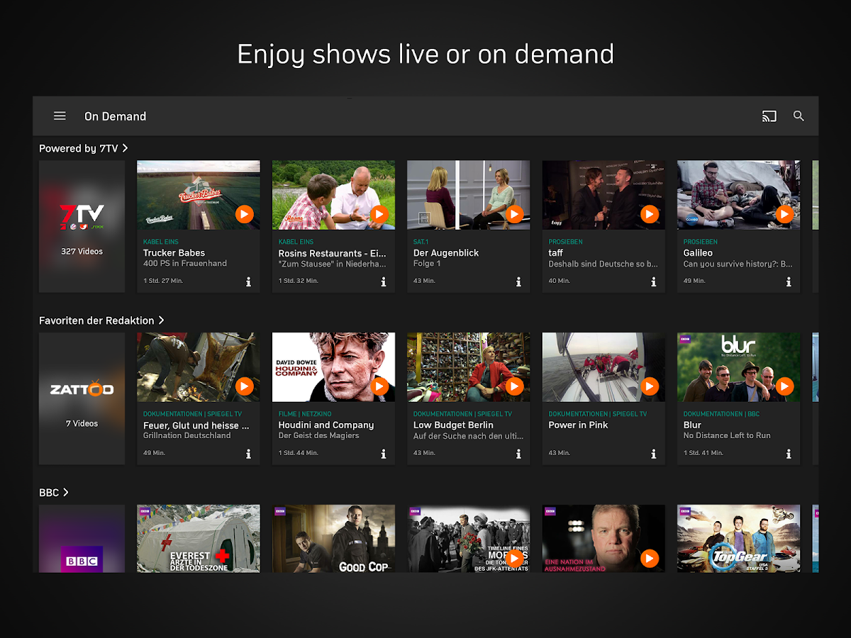 Zattoo - TV Streaming: captura de pantalla