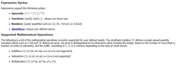 ANSYS Выдержка из статьи справочной документации, описывающей возможные операции в выражении для пользовательского результата