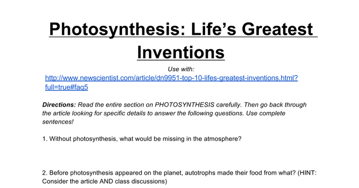 Close Reading on Photosynthesis Greatest Invention Google Docs – Photosynthesis Review Worksheet Answers