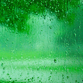 by Kirk Barnes - Abstract Water Drops & Splashes ( drop, rain, green )