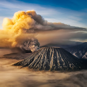 Volcano by Tien Sang Kok - Landscapes Mountains & Hills ( volcano, nature, sunrise, landscape, eruption )