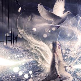 To The Freedom... by Ilkgul Caylak - Digital Art Things ( cool, edited, clouds, beautiful, nice, photography, photooftheday, amazing, girl, sky, awesome, woman, editoftheday, photo editing, photoshop )