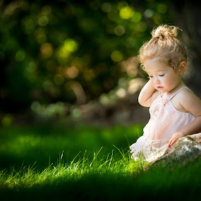 Princess Pose by Mike DeMicco - Babies & Children Child Portraits ( babies, innocent, green, beautiful, little, cute, woods, pretty, portrait, child, love, sweet, girl, dress, adorable, light )