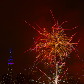 NYC Skyline by Bala Ve - Public Holidays July 4th ( fireworks, manhattan, july 4th, new york, nyc )