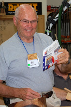 Photo: Bob Browning shows junk mail that he brings down to the shop and uses for taking notes, mixing glue, or whatever you use paper for in the shop.