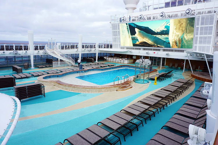 There's room to spread out on the redesigned pool deck of Norwegian Bliss.