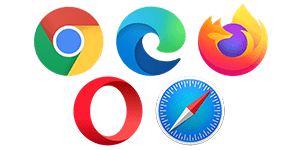 Support for Chrome, Edge, Firefox, Opera & Safari