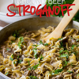 One Skillet Ground Beef Stroganoff.