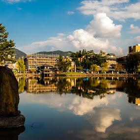 Blue reflection  by Maya Bar - City,  Street & Park  Vistas ( water reflection, nara, blue sky, town )