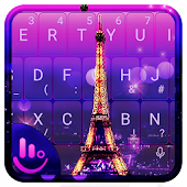Purple Eiffel Tower Keyboard Theme
