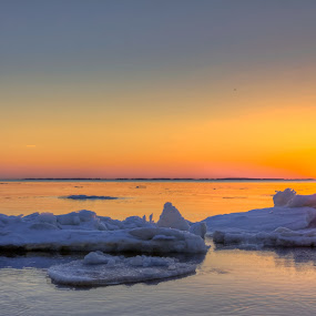 Icy sunrise by Paul Glinowiecki - Landscapes Waterscapes ( water, bay, waterscape, ice, sunrise, landscape,  )