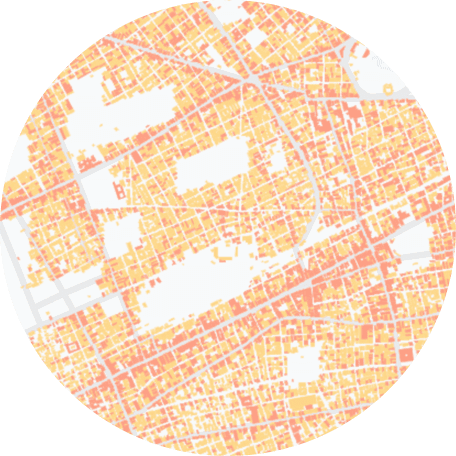 Aerial view of roads mapped on a city
