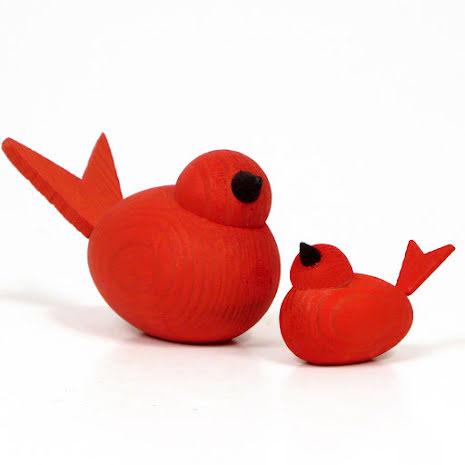 Fåglar röda