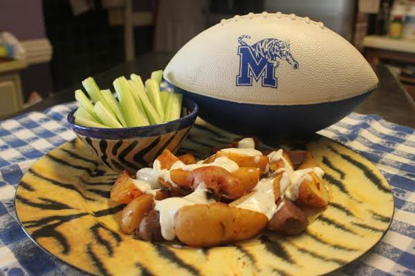 Blazzing Buffalo Bluuecheese Chicken Grilled Potatoes With Celery Sticksgreat Tailgate Appetizer Or Side With Burgers Or Brats!