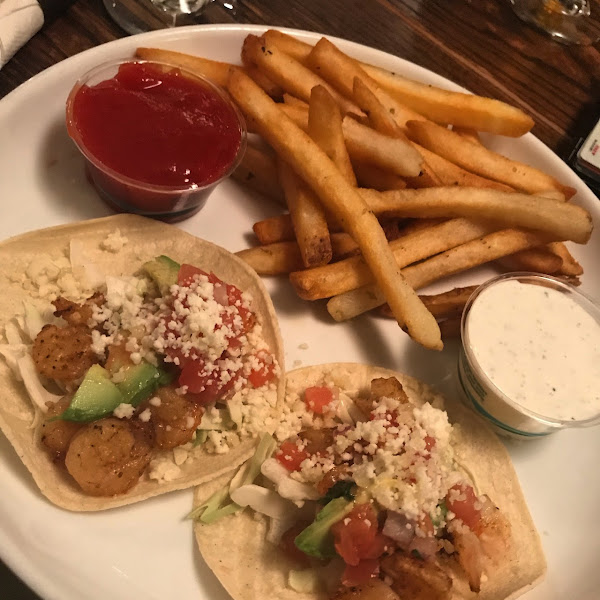Celiac friendly shrimp tacos and fries!