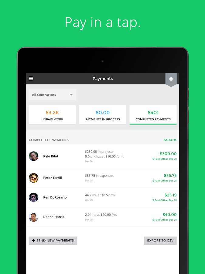Payable: Contractor Management- screenshot
