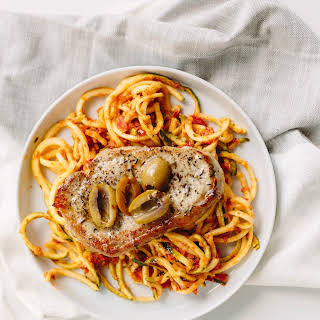 Thyme Pork Chops with Sundried Tomato Zucchini Noodles.