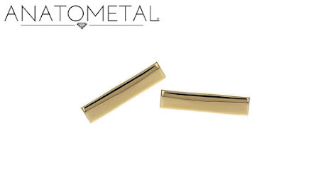 18k Rectangle end,Bars with push pin