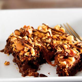 Warm Nutty Caramel Brownies.