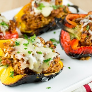 Grilled Turkey and Rice Stuffed Bell Peppers